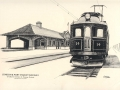 Sketch of the L&PS electrified train at Talbot St. Station, St. Thomas